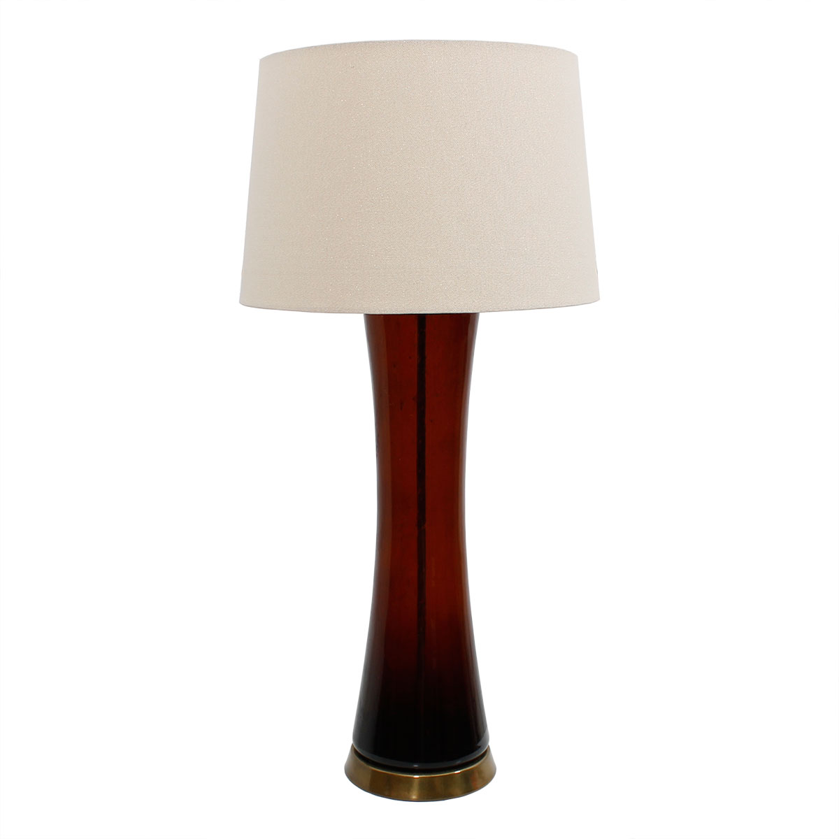 Tall MCM Burnt Amber Glass Lamp