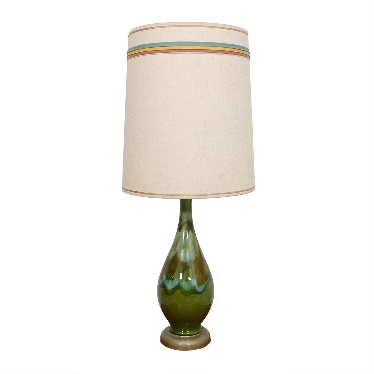 MCM Ceramic Lamp with Blue & Green Glaze