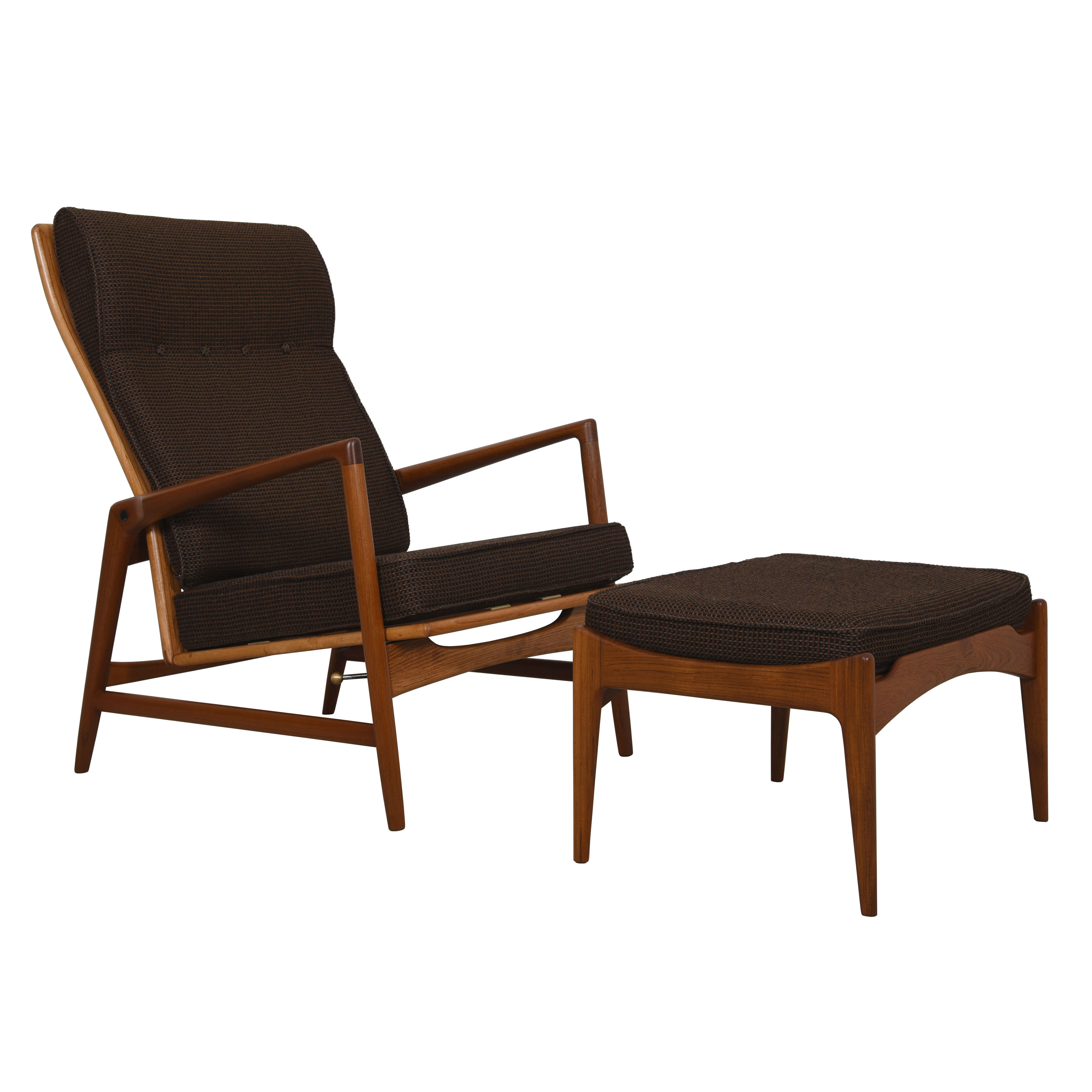 Kofod Larsen Danish Teak Adjustable Lounge Chair w/ Ottoman by Selig