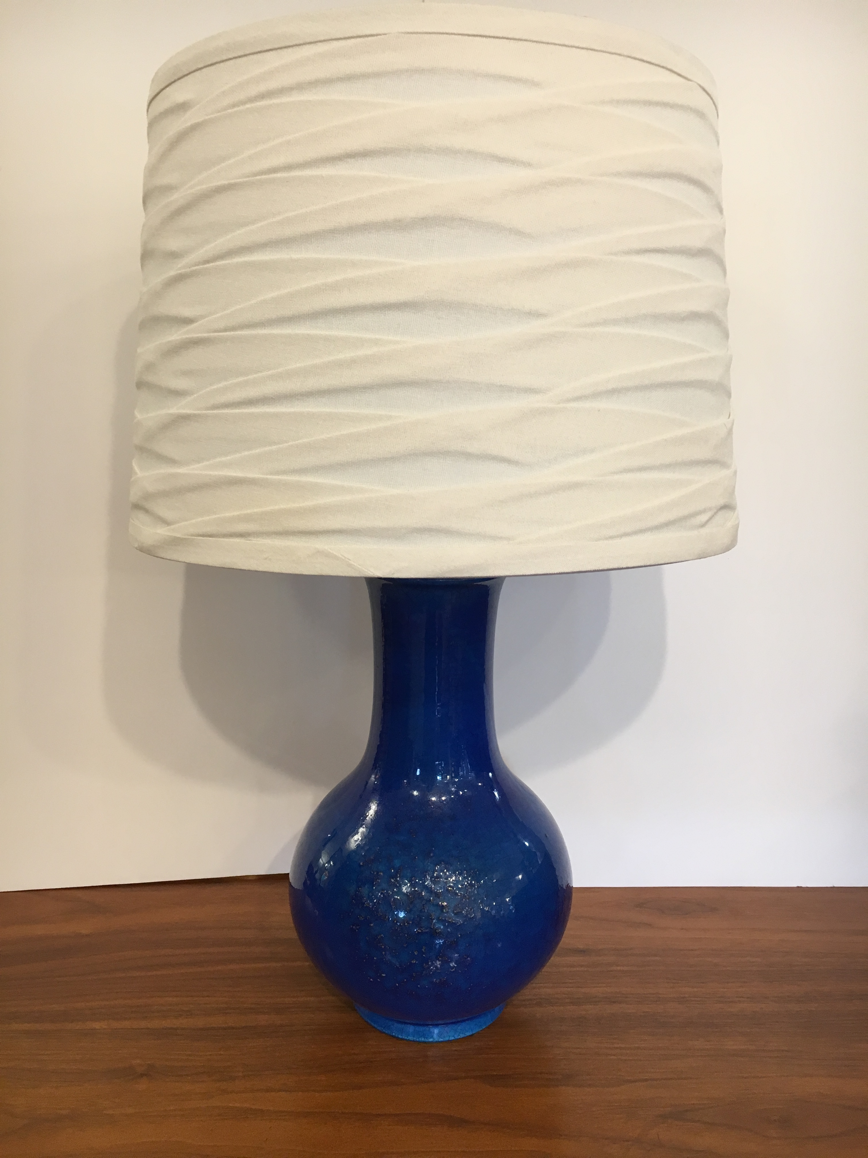 c.1970s Pottery Table Lamp with Blue Glaze by Pol Chambost, France