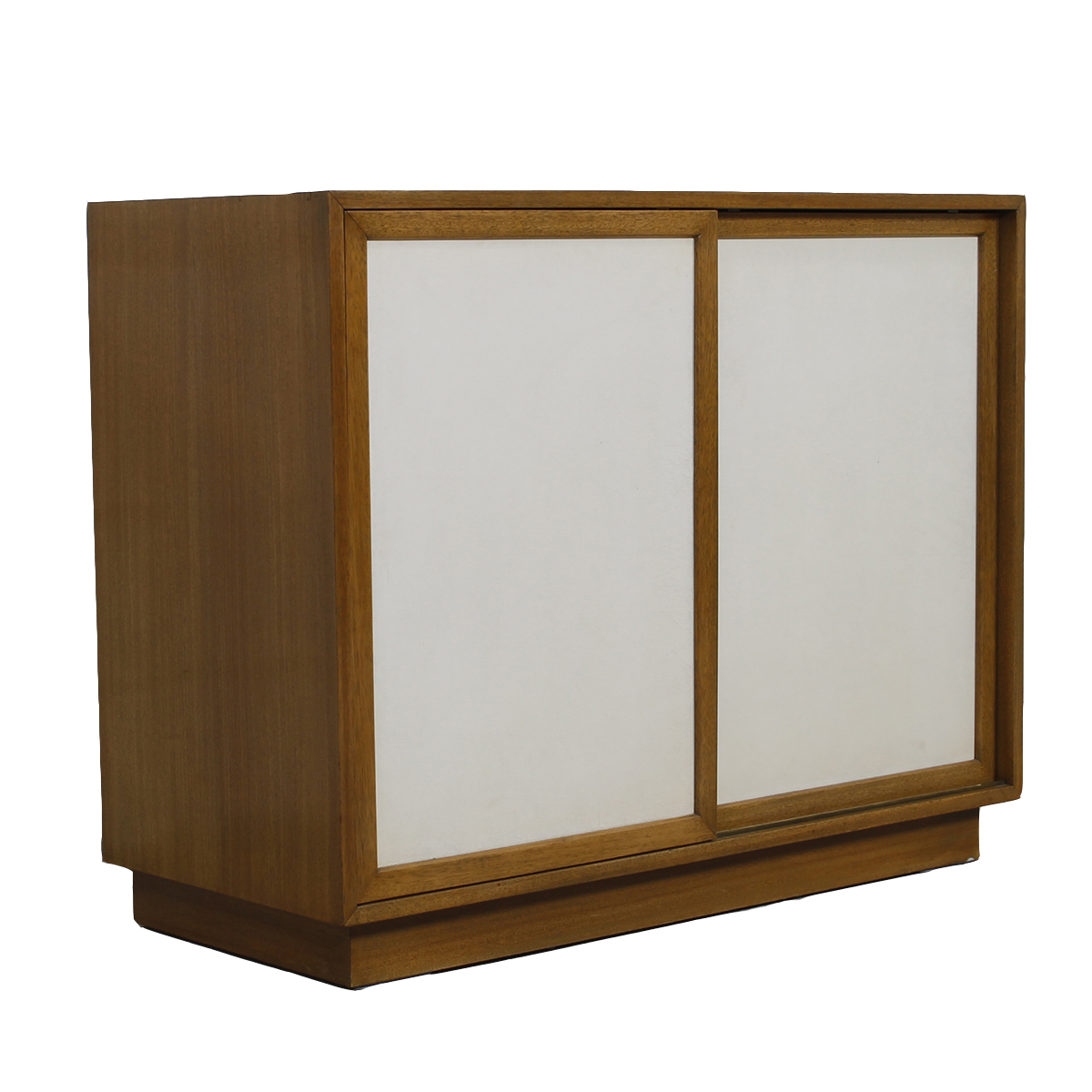 Harvey Probber Compact Cabinet in Bleached Mahogany with White Leather Doors