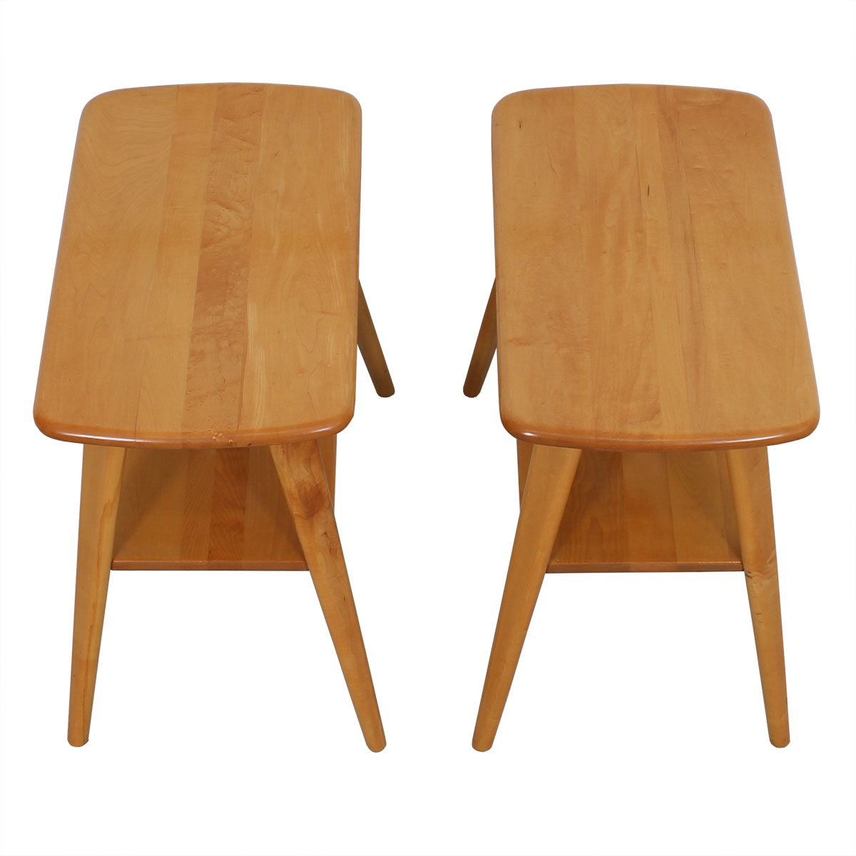 Pair of Tall & Thin Heywood Wakefield Splayed Leg Side Tables