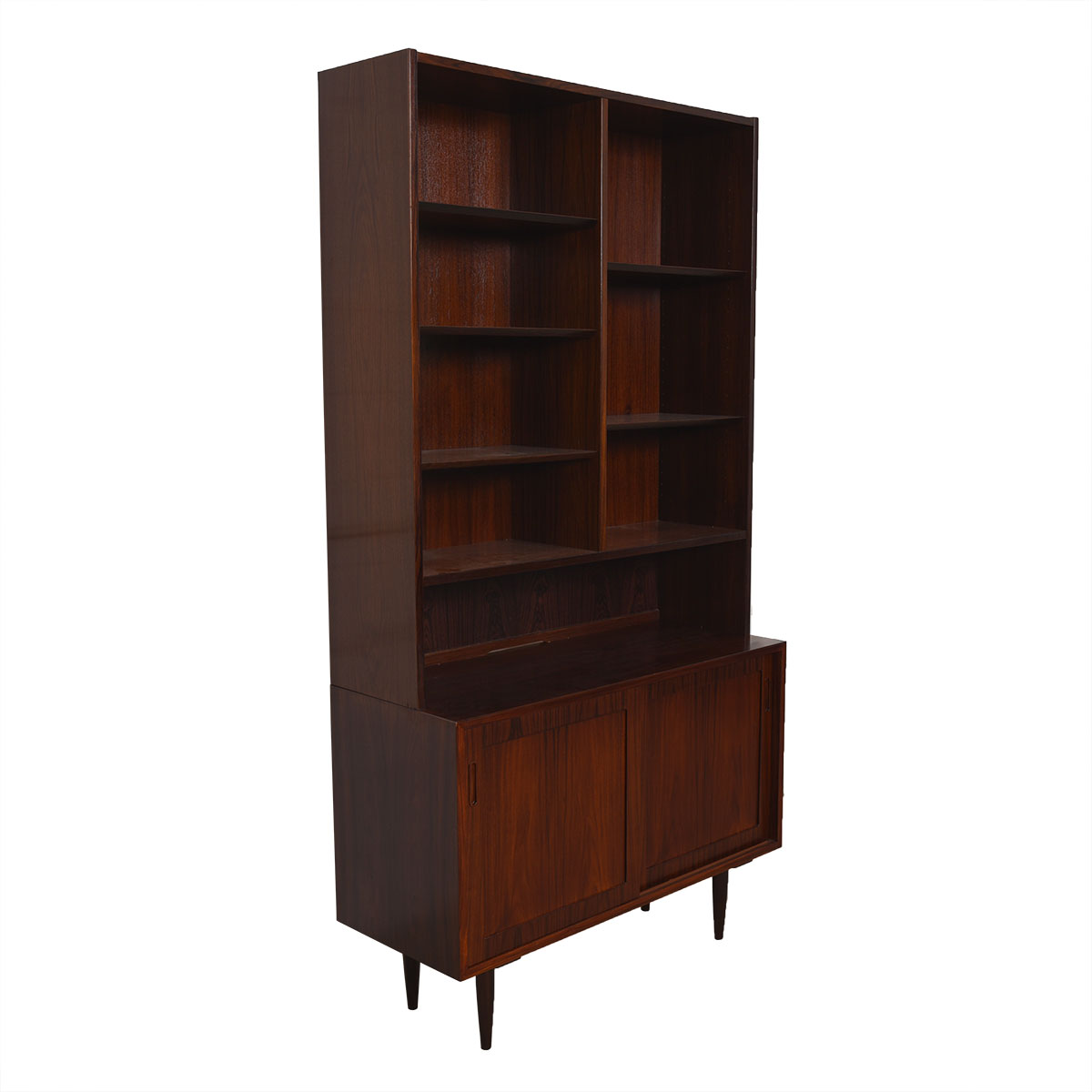Condo Sized (42.5″) Danish Rosewood Display Cabinet / Bookcase