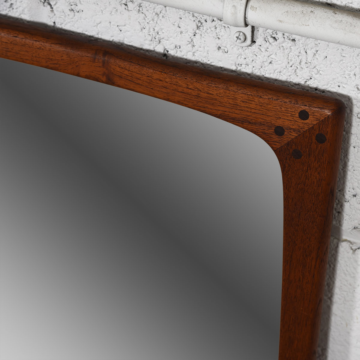 Compact Rounded-Edge Danish Teak Mirror