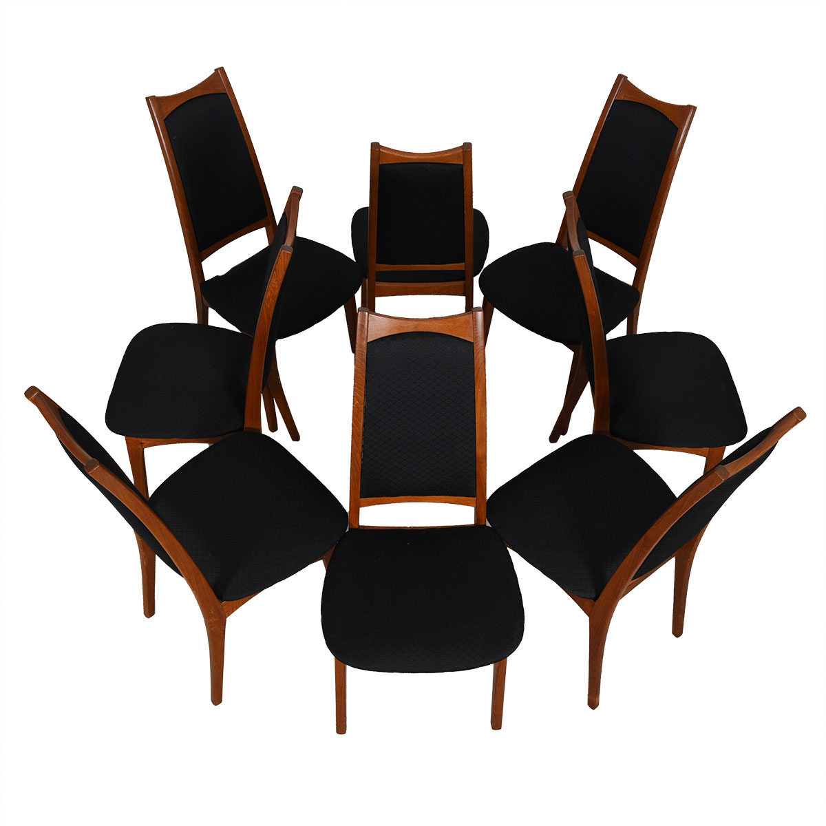 Set of 8 Moreddi Danish Modern Teak Black Upholstered Dining Chairs