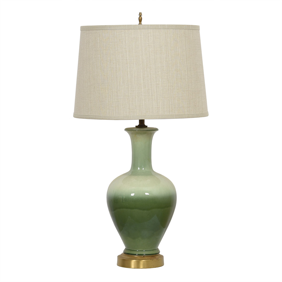 MCM Ceramic Table Lamp with Green Ombre Effect