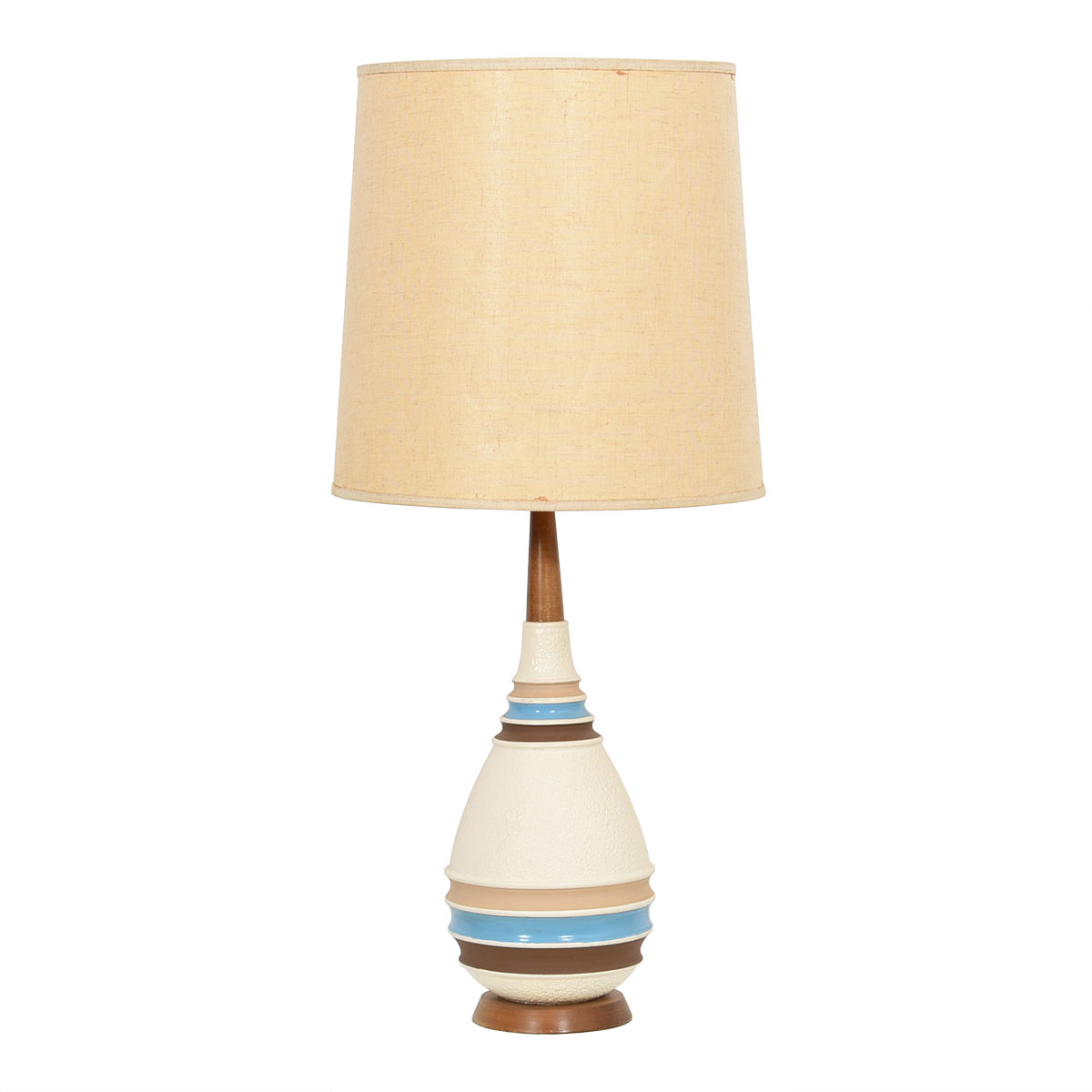 Mid Century Textured Table Lamp with Tan Blue & Brown
