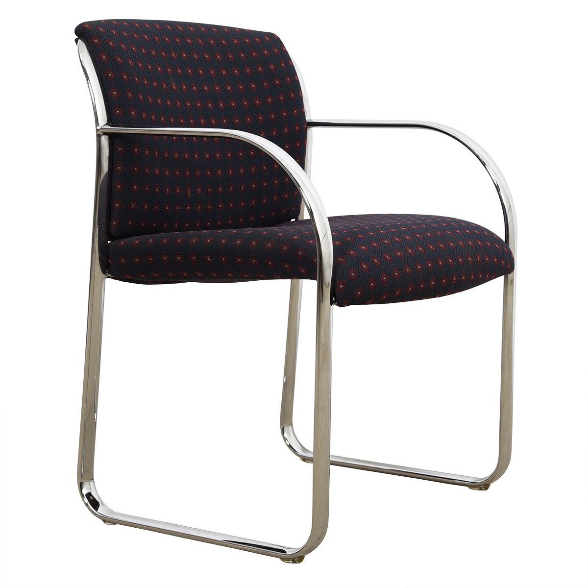 Modernist Chrome Chair with Red-on-Navy Foulard Upholstery