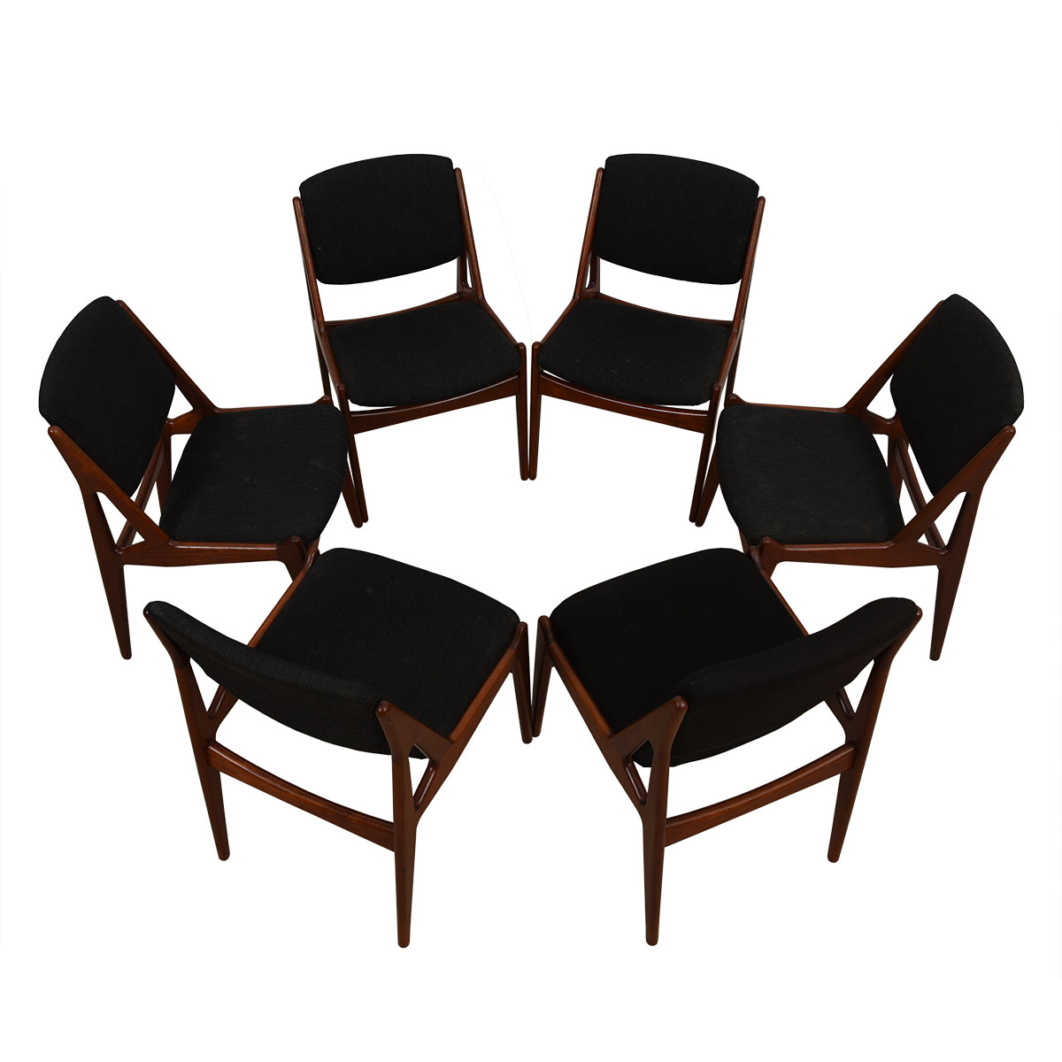 Arne Vodder Set of 6 Pivot Back Dining Chairs