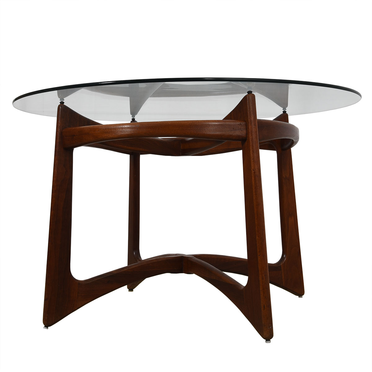 Adrian Pearsall Round Glass Top Dining Table w/ 'Organic' Walnut Base