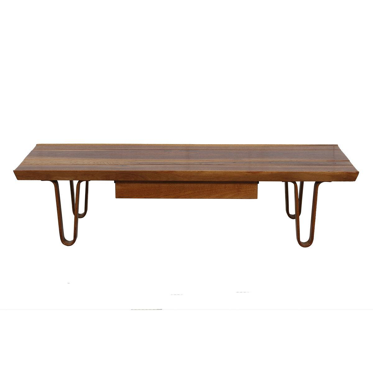 """""""Long John"""" Coffee Table / Bench with Drawer by Edward Wormley for Dunbar 48″"""