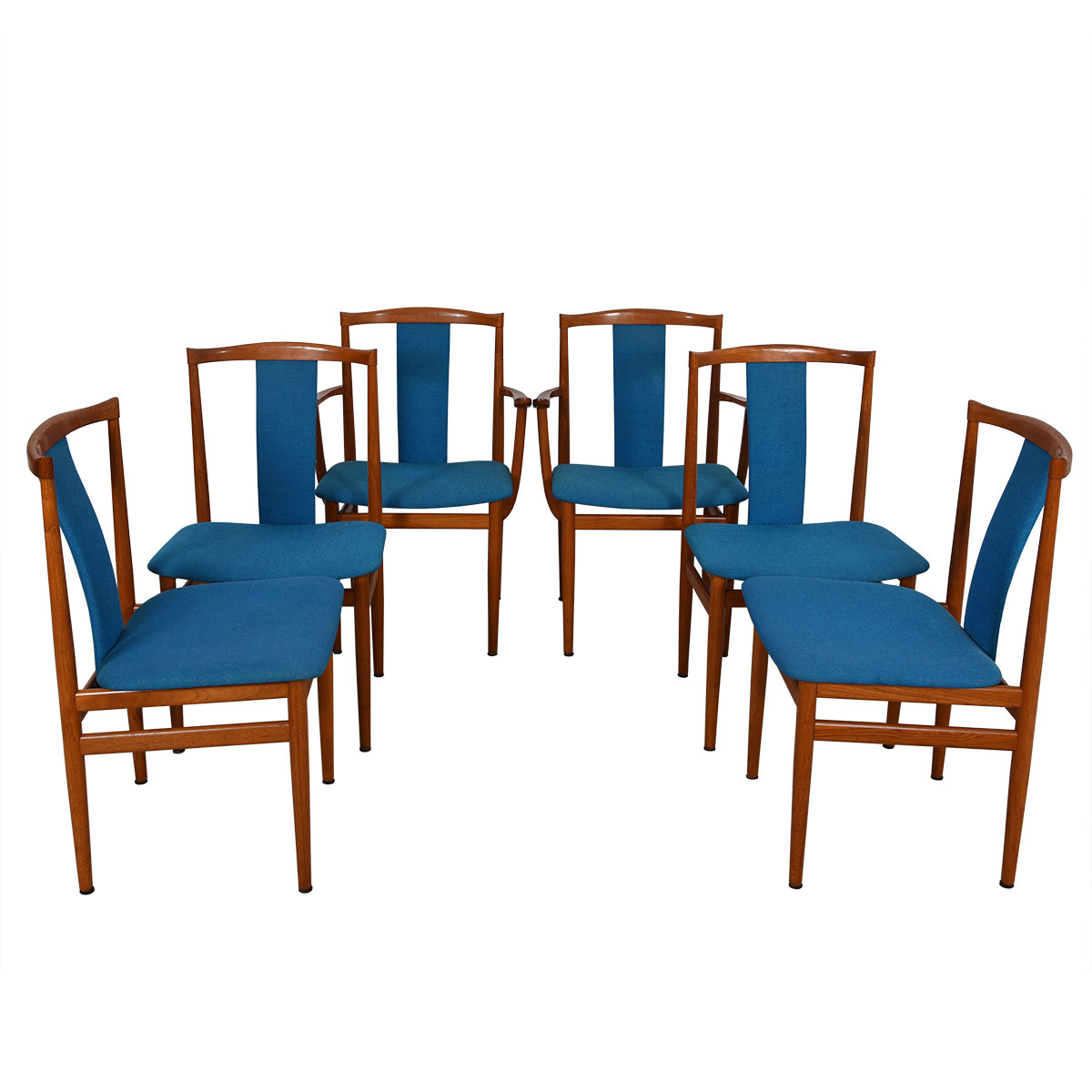 Set of 6 Danish Modern Blue Upholstered Teak Sculpted-back Dining Chairs