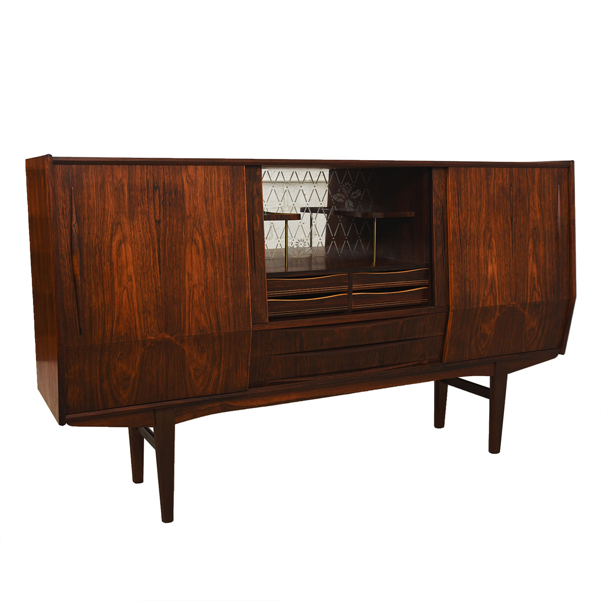 Danish Modern Rosewood Highboard / Bar Cabinet