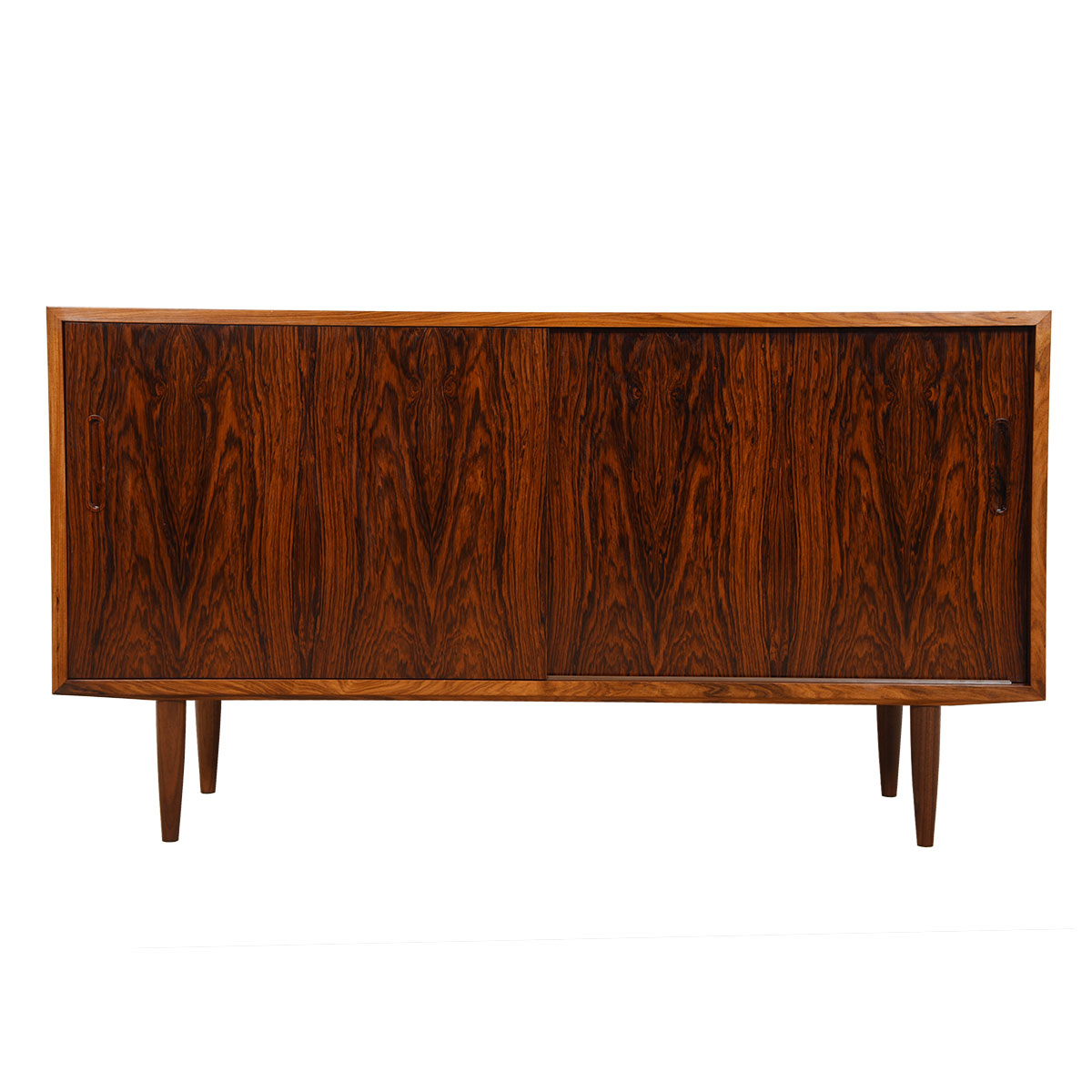 Compact 54″ Danish Rosewood Sideboard / Media Cabinet