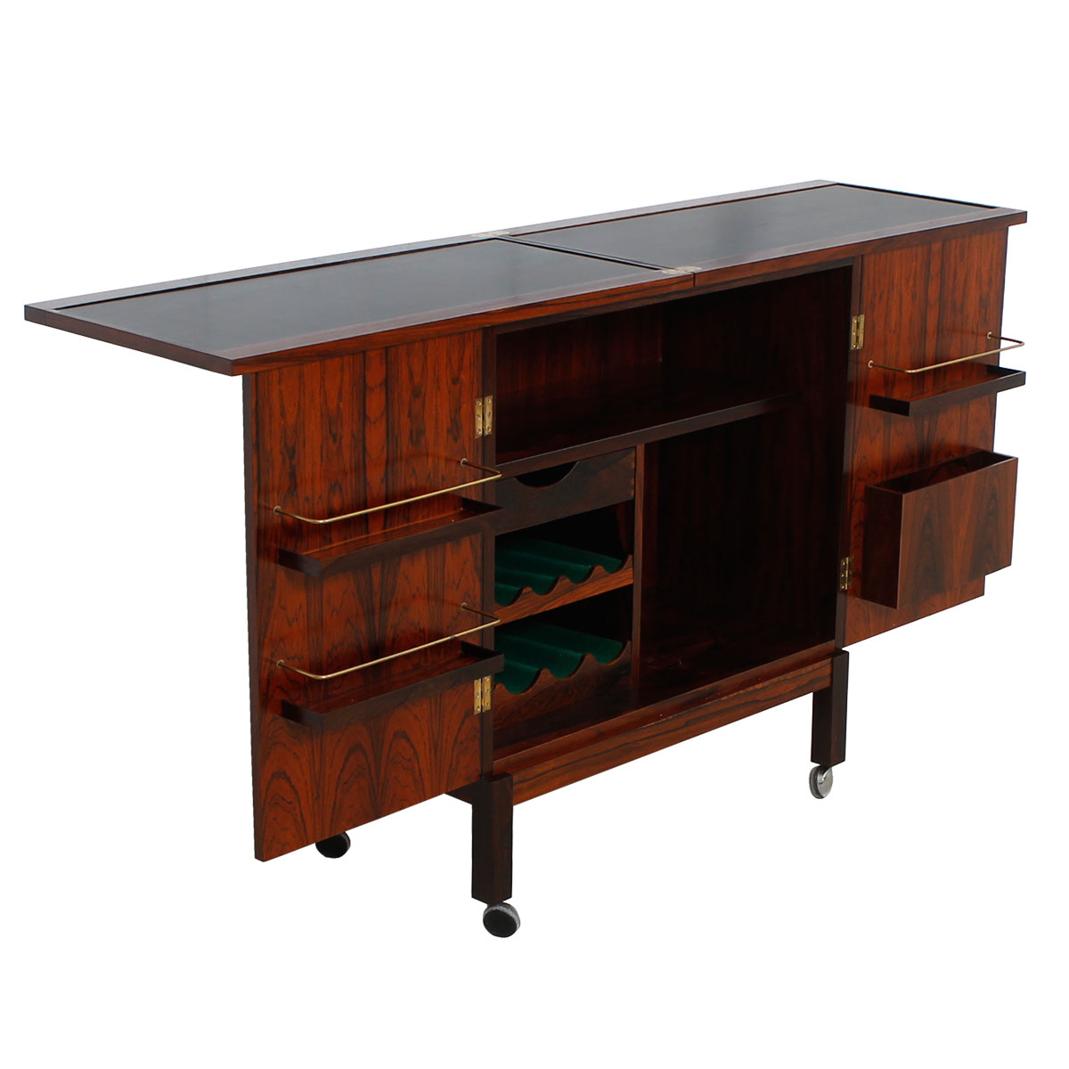 Danish Modern Rosewood  Expanding Bar / Storage Cart