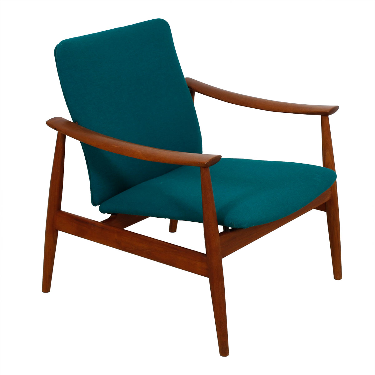Pair of Finn Juhl Danish Modern Teak + Teal Easy Chairs