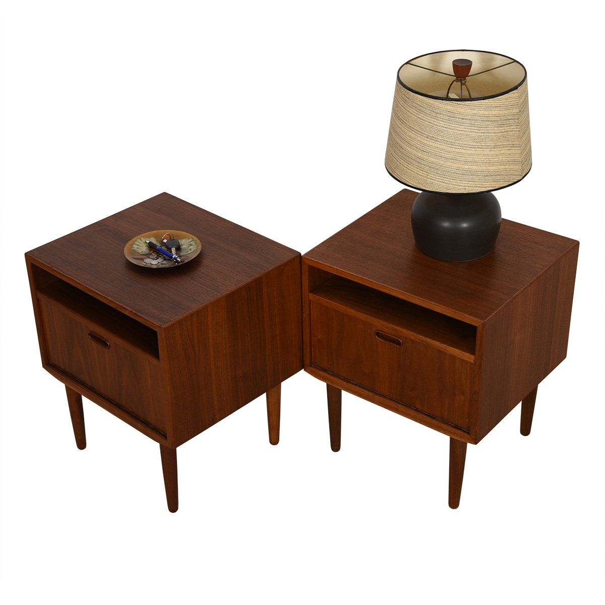 Pair of Danish Modern Walnut Night Stands — Accent Tables by Falster