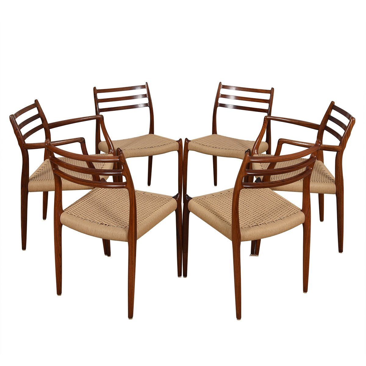 Set of 6 Rosewood Dining Chairs 2 Arm (Model #62) + 4 Side (Model #78) by Niels Moller