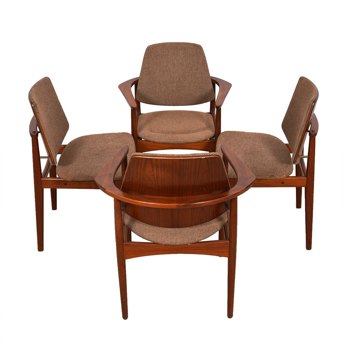 Set of 4 Danish Teak Arne Hovmand-Olsen Dining Chairs 2 Arm / 2 Side