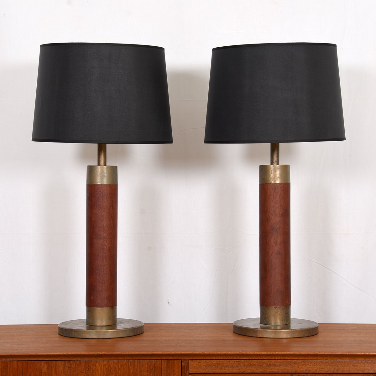 Pair of Solid Wood and Patinated Bronze Column Table Lamps