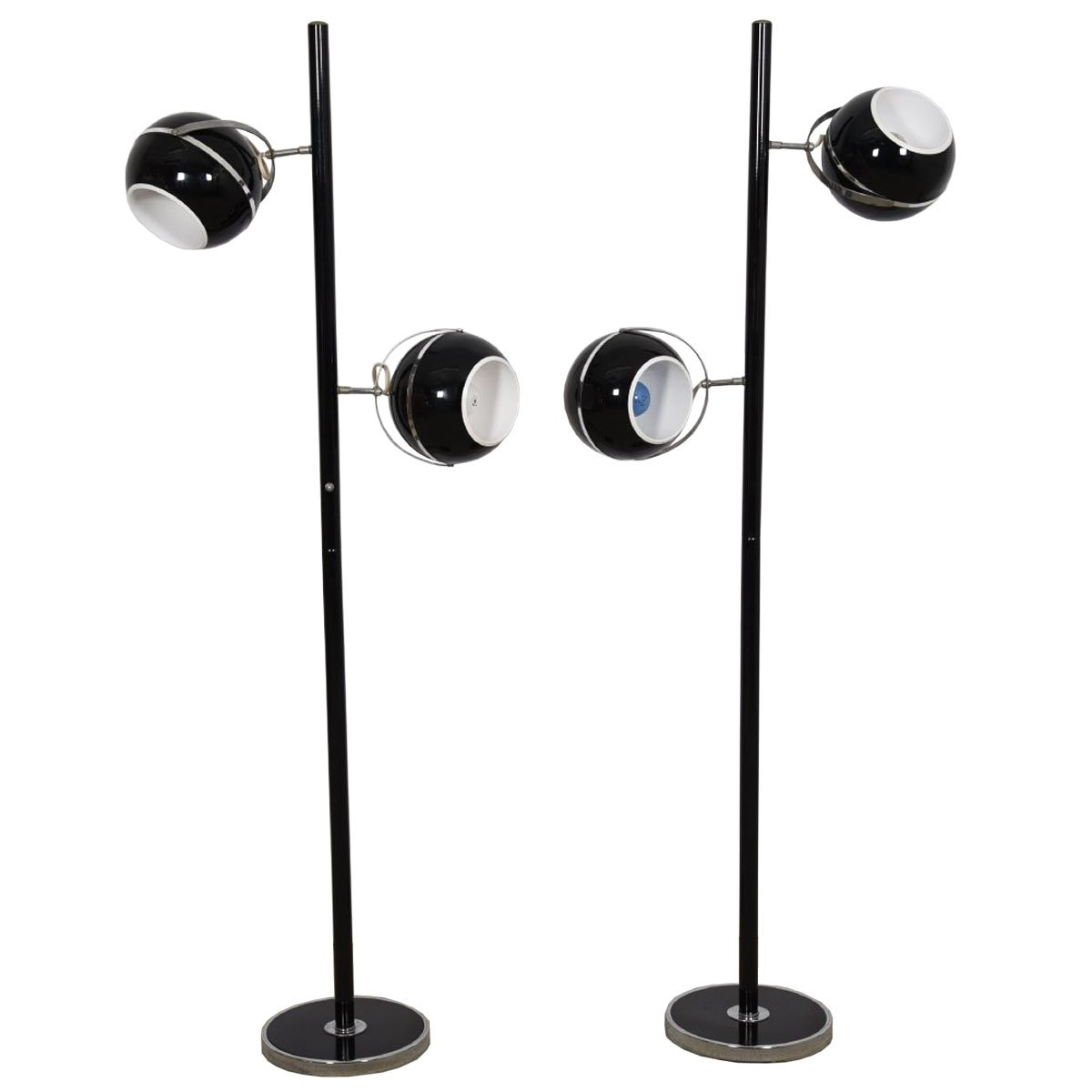 Pair of Black and Chrome Eyeball Floor Lamps