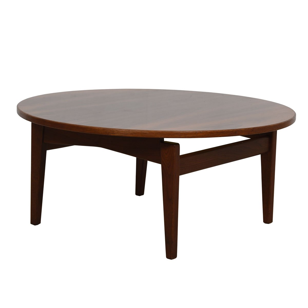 Jens Risom 36″ MCM Walnut Round Coffee Table
