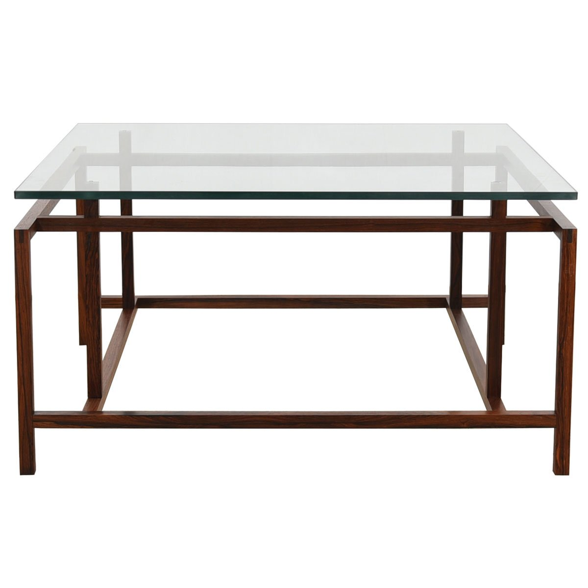Square Rosewood Floating Glass Top Coffee Table