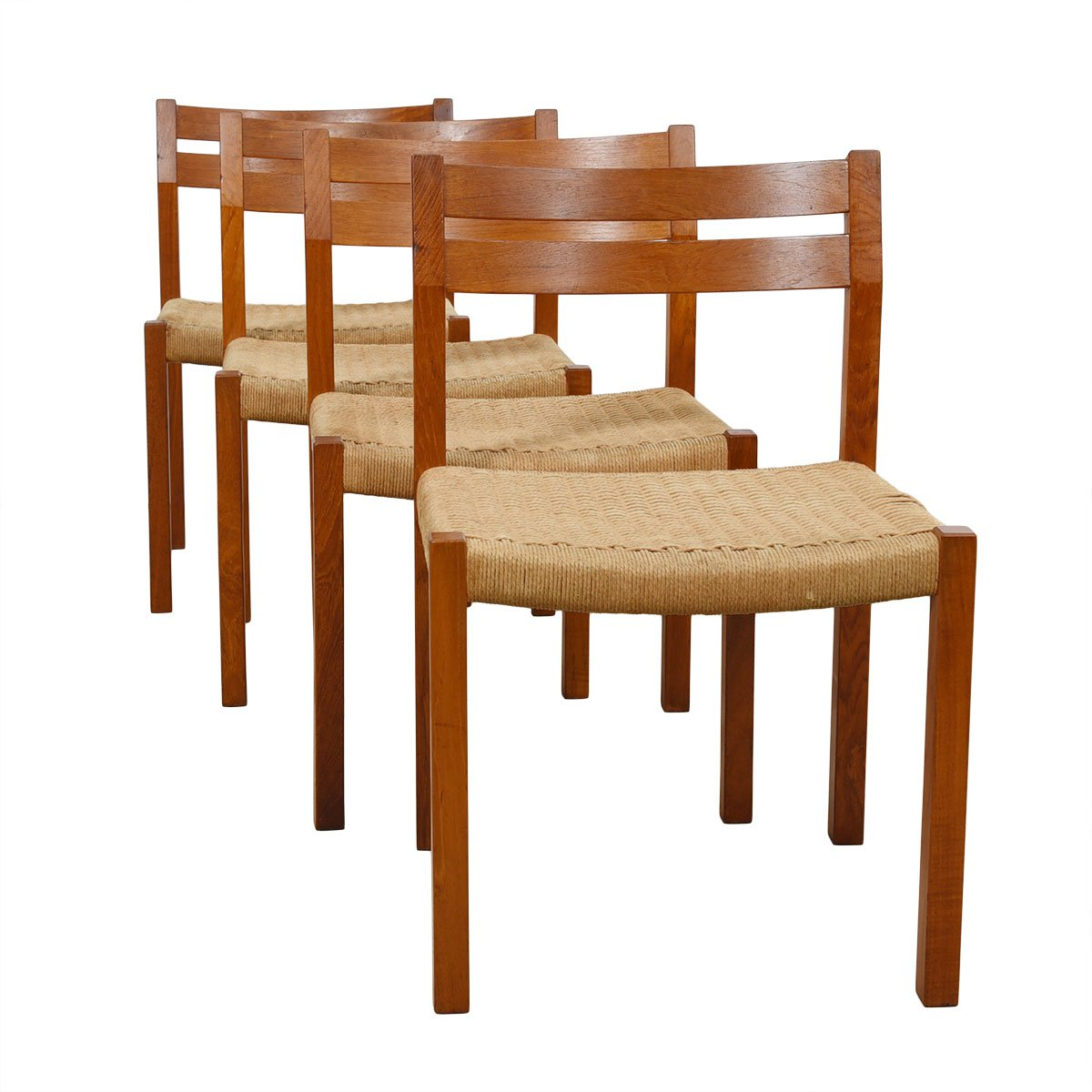 Set of 4 Danish Cord & Teak Dining Chairs