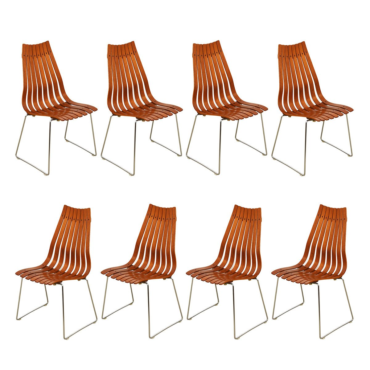 "Set of 8 Norwegian Modern Hans Brattrud ""Scandia"" Teak Dining Chairs"