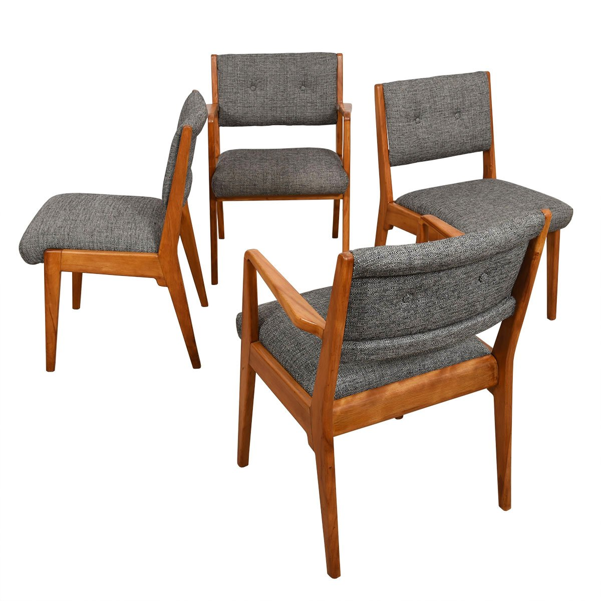 Set of 4 (2 Arm 2 Side) Reupholstered Dining Chairs by Jens Risom