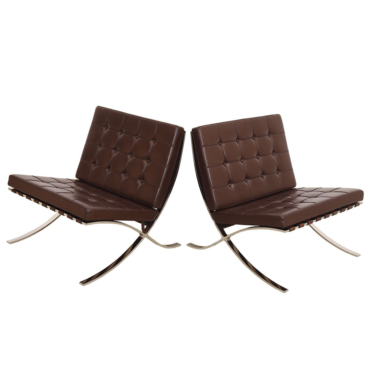 Chocolate Brown Pair of Mies van der Rohe Barcelona Chairs