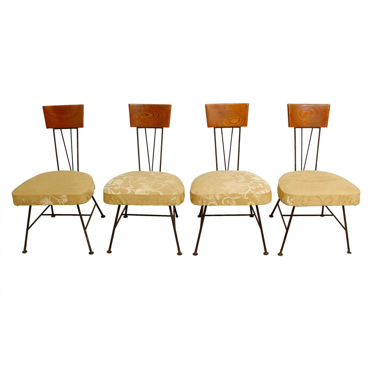 Set of 4 Iron, Wood and Upholstery Chairs in the Style of Paul McCobb
