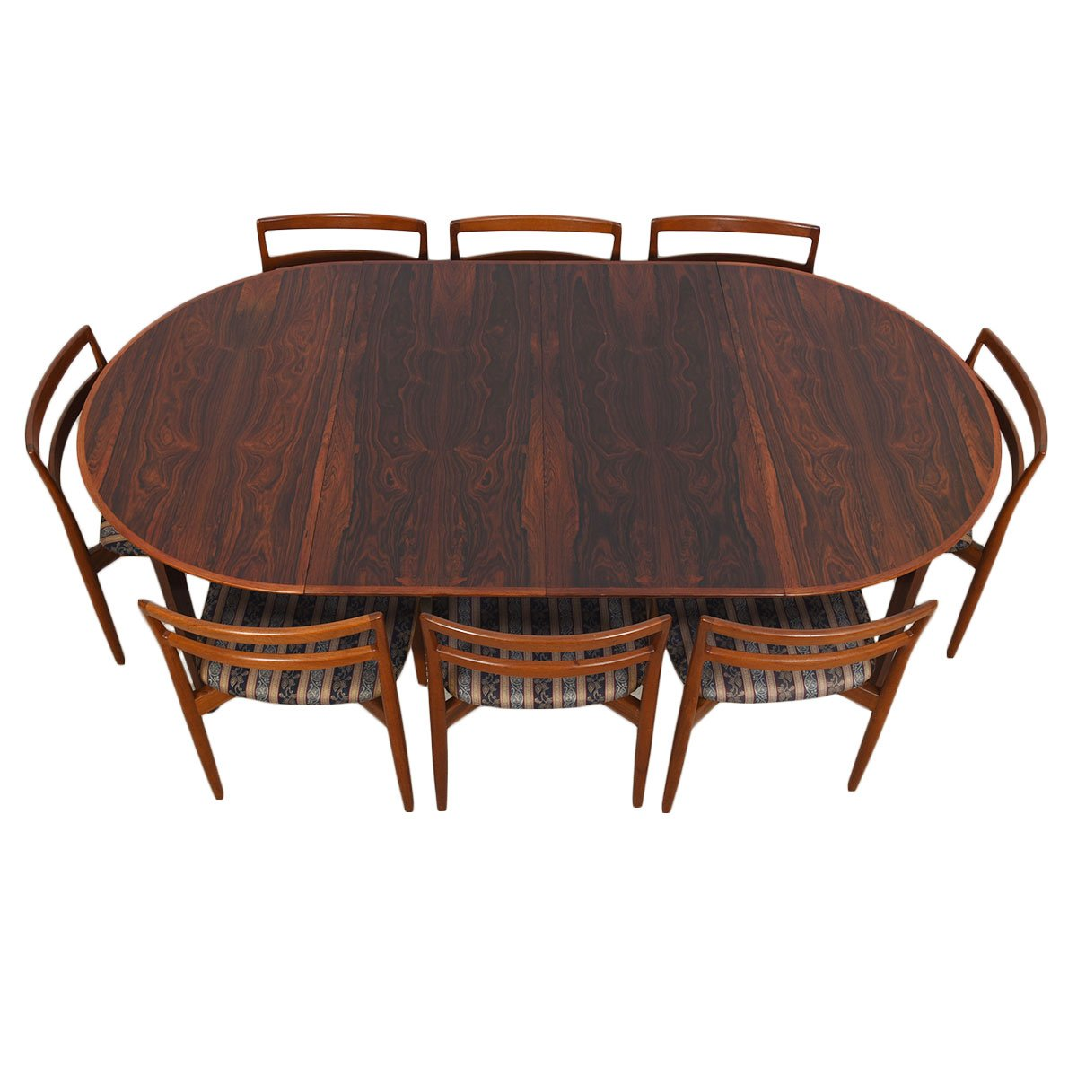 'Old-School' Danish Rosewood Round-to-Oval Expanding Dining Table