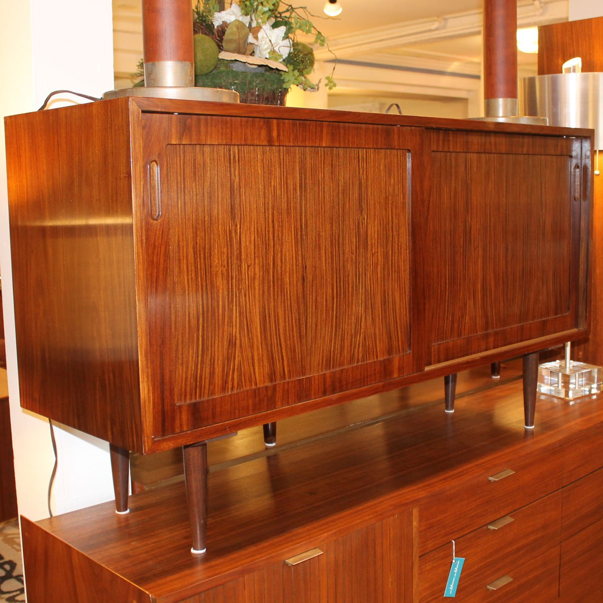 55″ Danish Rosewood Sideboard / Media Cabinet