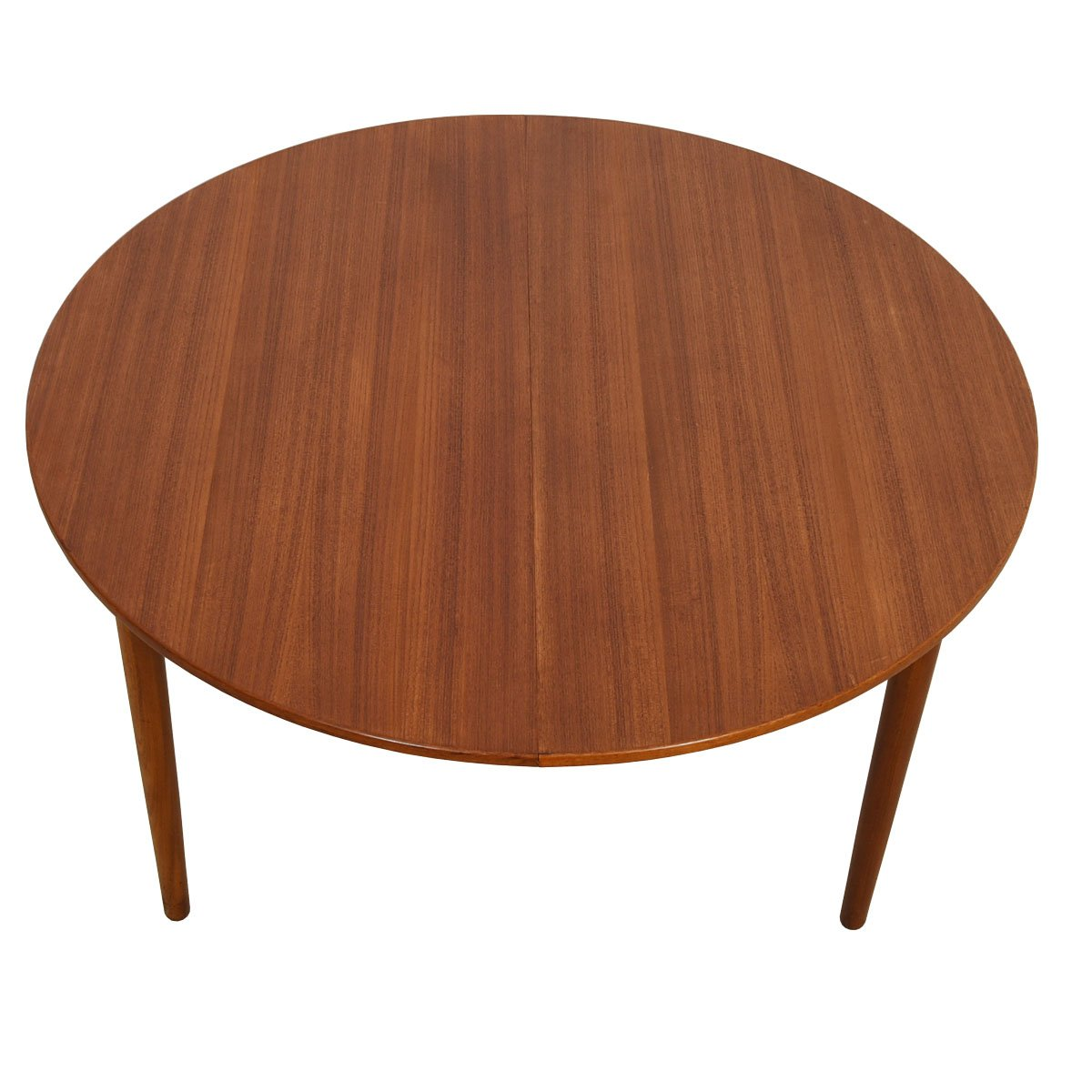 51″ Danish Teak Round-to-Oval Expanding Dining Table