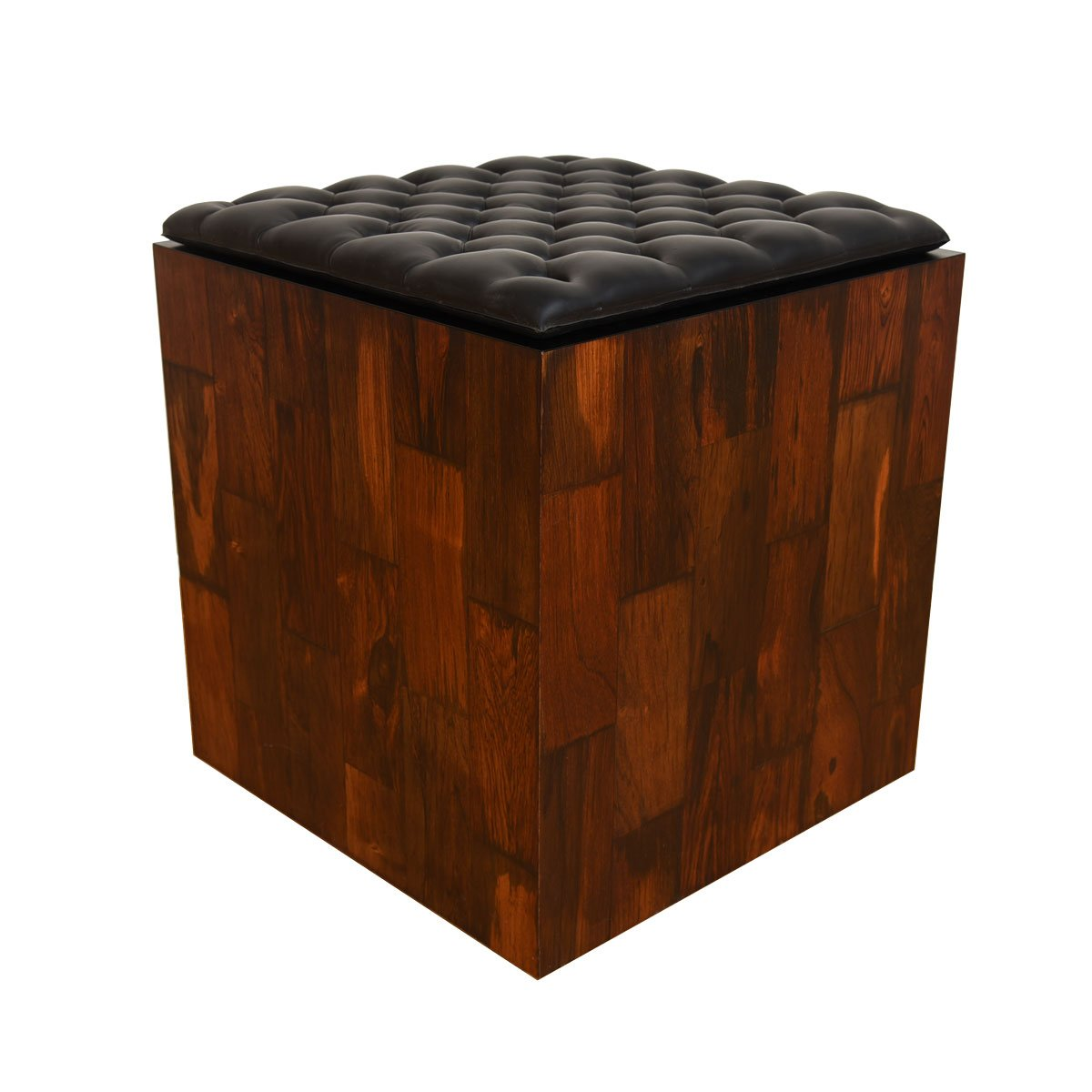 Rosewood Accent Table / Stool w/ Removable Cushion