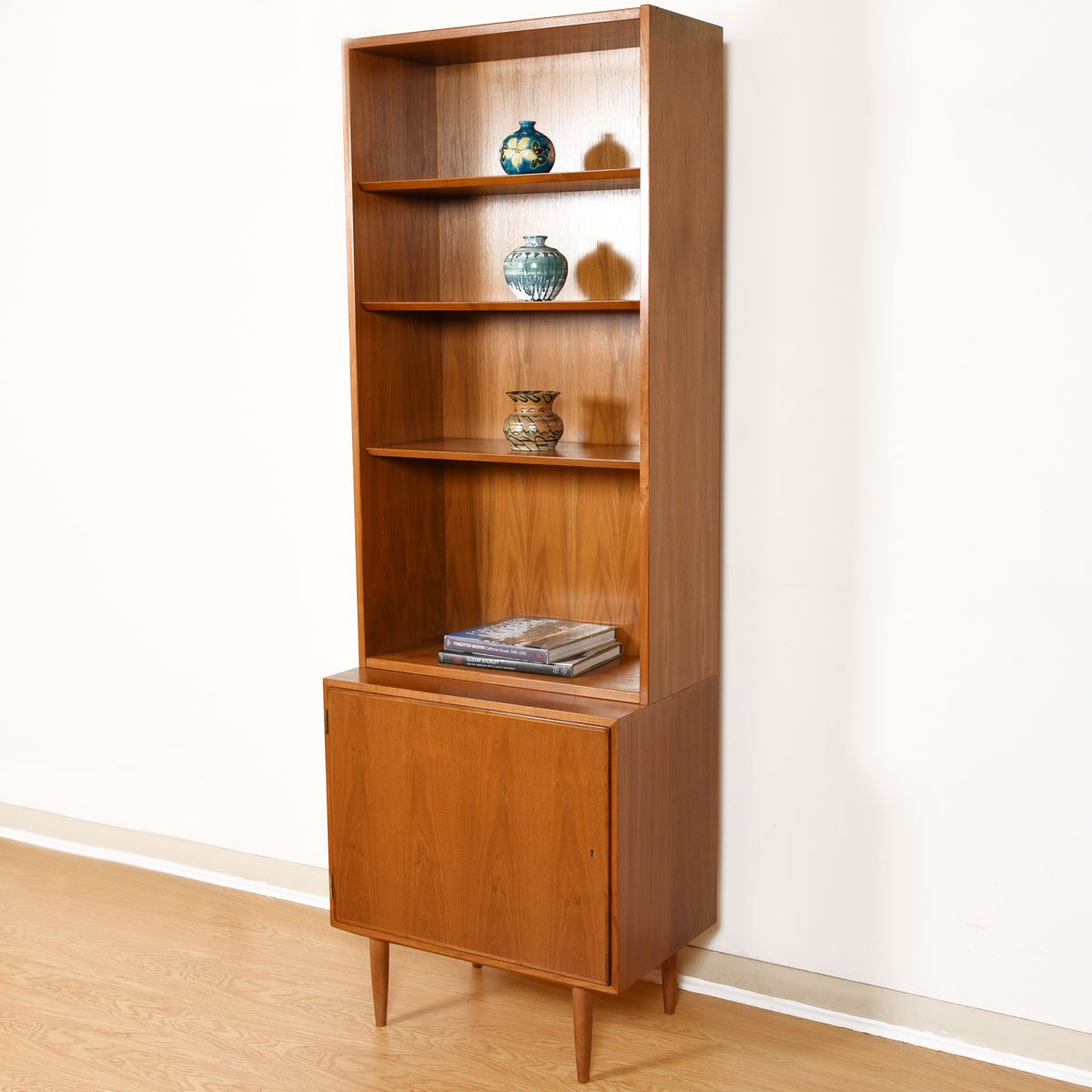 28″ Danish Studio-Sized Locking Cabinet w/ Bookcase Top in Walnut