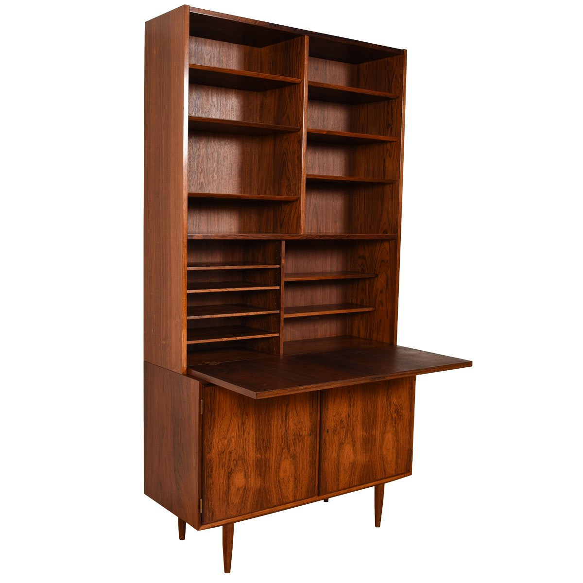 Compact 2-Piece Rosewood Secretary / Display / Locking Cabinet