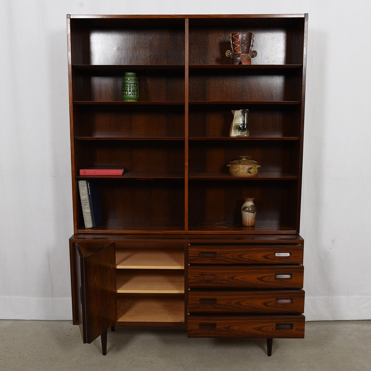 Danish Modern Rosewood 2-Piece Bookcase / Display Cabinet