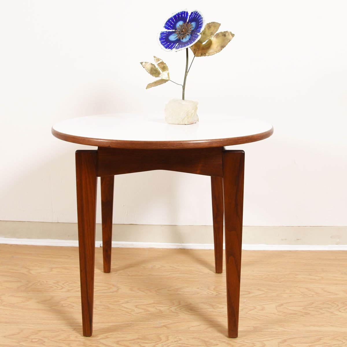 Jens Risom Mid-Century Walnut Round Tall Accent / Coffee Table