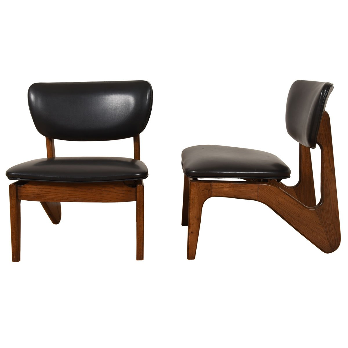 The Low-Riders: Pair, American Modernist Sculpted Accent Chairs