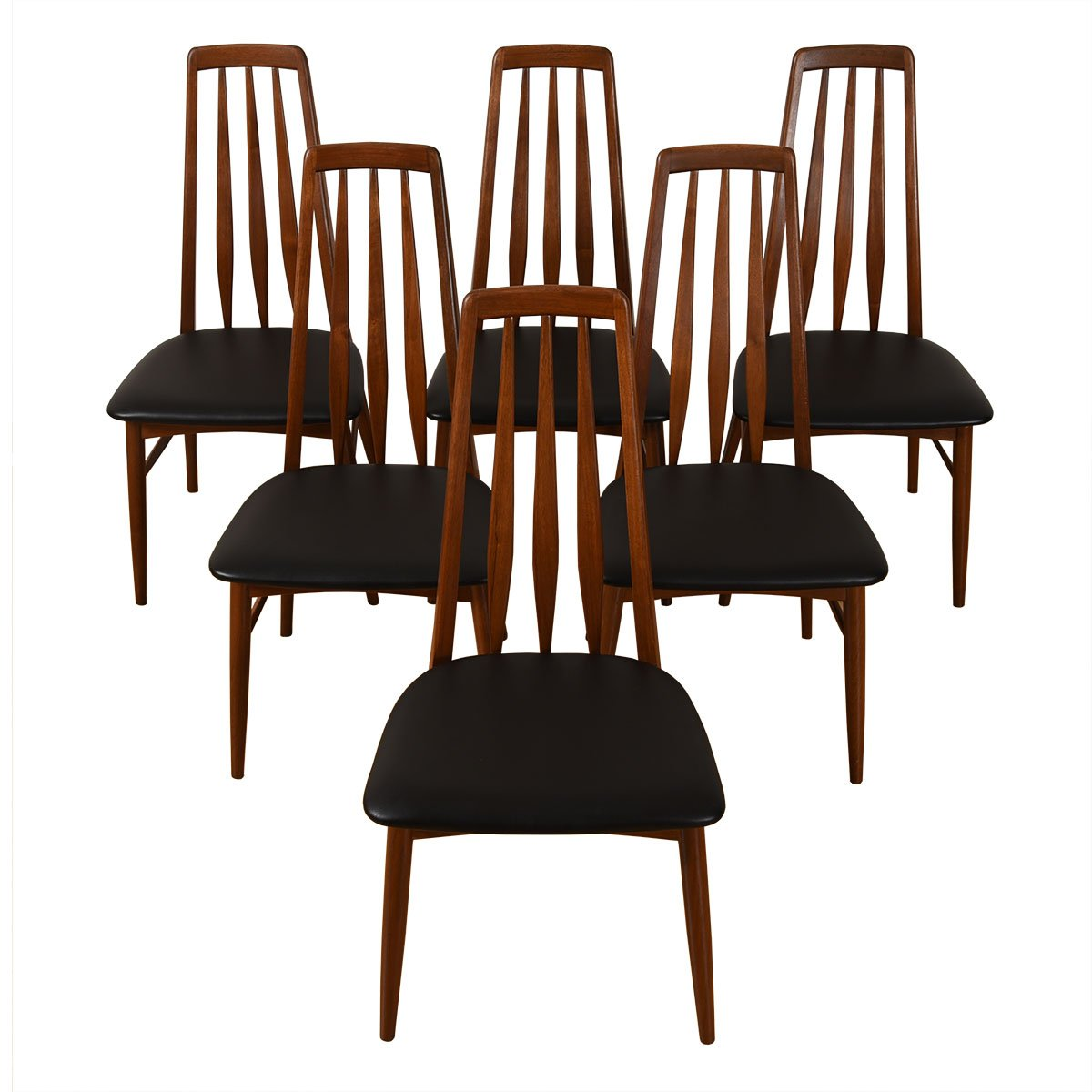 Walnut Set of 6 Danish Modern Side Dining Chairs