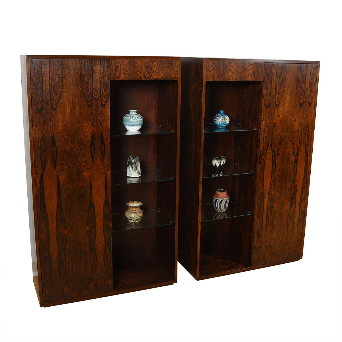 Exquisite Pair of Danish Modern Rosewood Lighted Display Cabinets