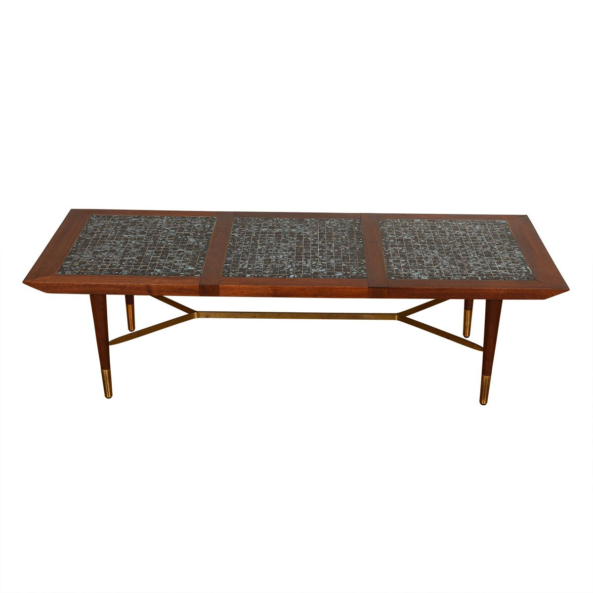 Mid Century Walnut + Tile Top Coffee Table w/ Brass Accents