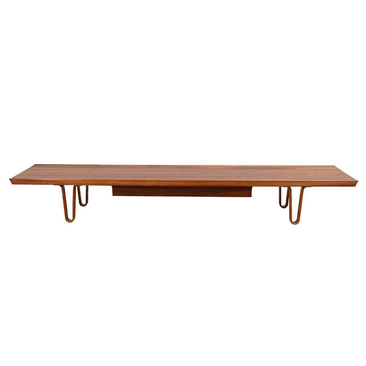 """Super """"Long-John"""" 84″ Coffee Table / Bench with Drawer by Edward Wormley for Dunbar"""