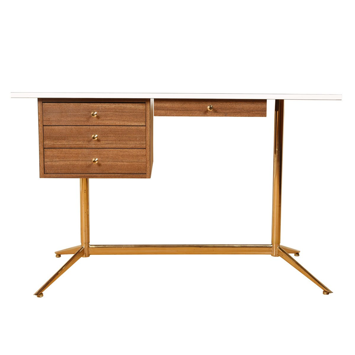 Mid Century Modern Decorator Desk w/ Brass Accents