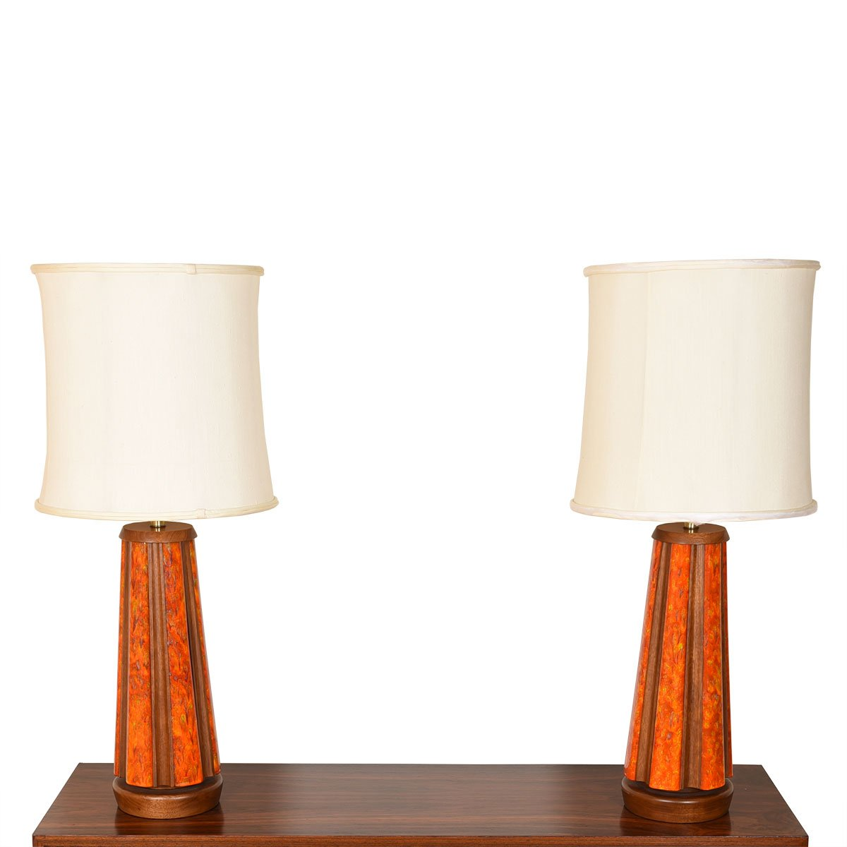Pair of Decorative Pottery & Wood Accented Table Lamps