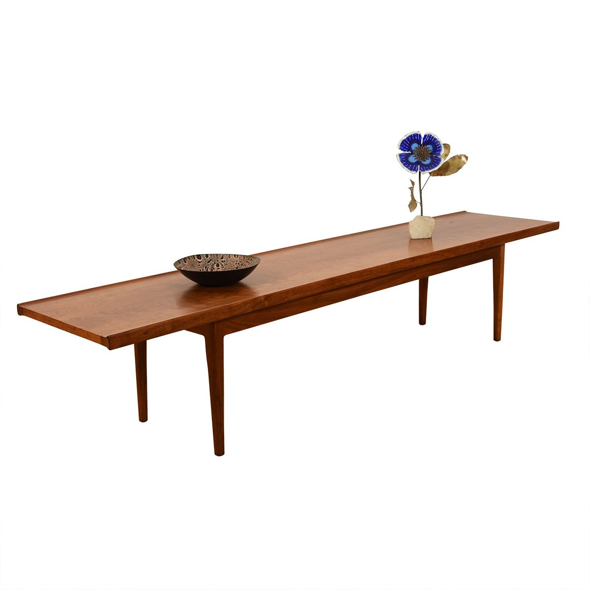 Thin & Long Mid Century Walnut Raised Edge Coffee Table