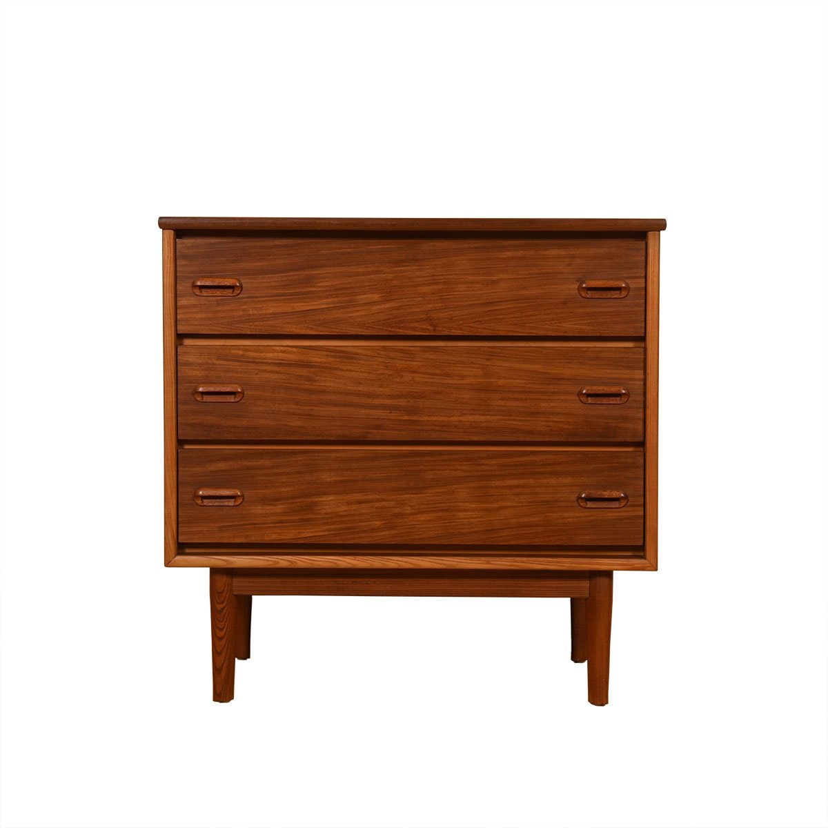 Mid Century Walnut 2-Tone Compact 3 Drawer Chest