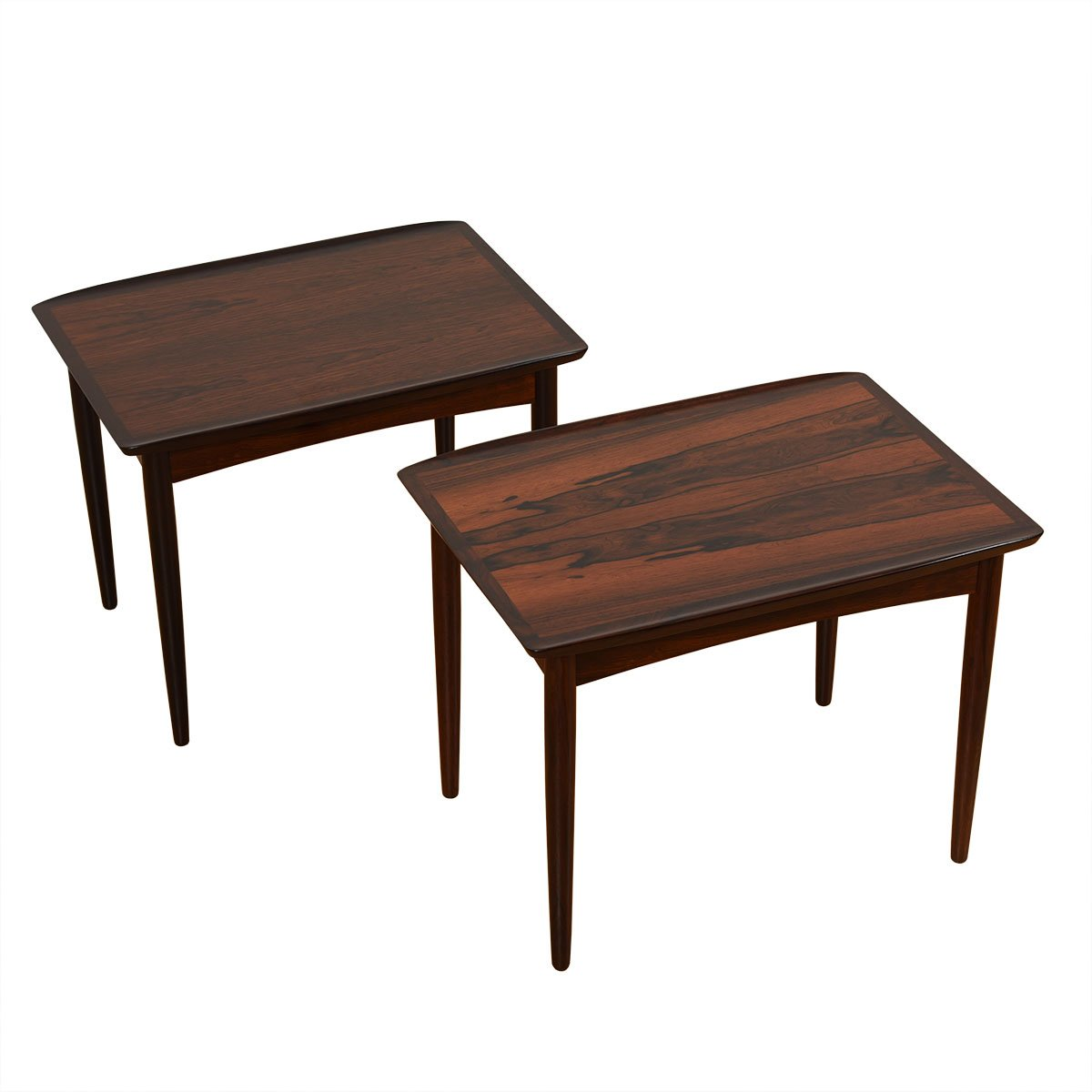 Pair of Danish Rosewood Raised Edge Accent / Side Tables